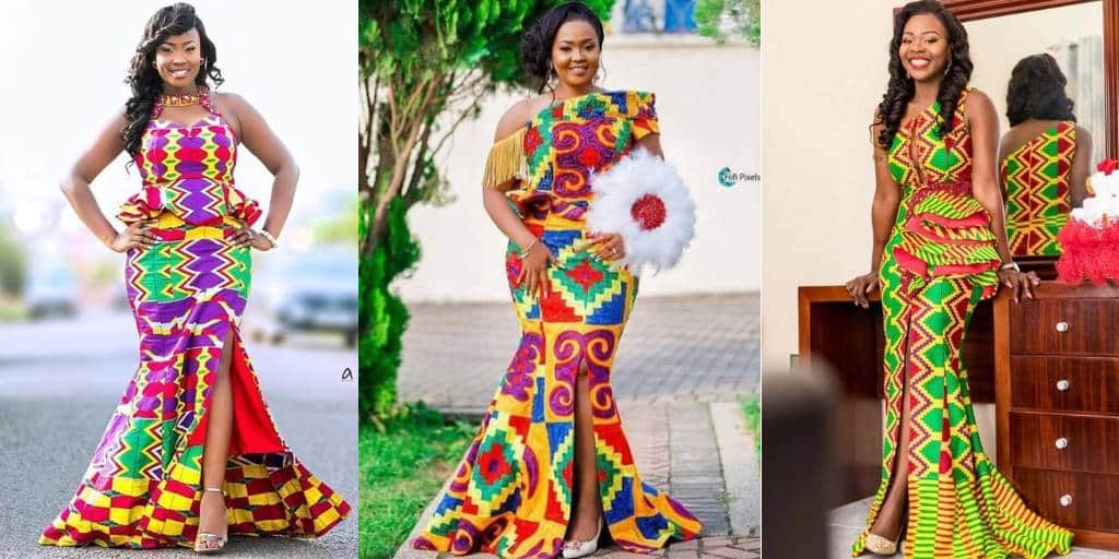 IMAGES Vibrant African Kente Wedding Dresses For Ladies.